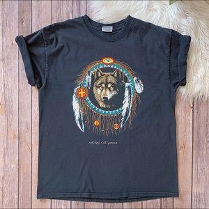 VINTAGE 90's Solvang CA Wolf Dreamcatcher Tee